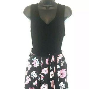 Modcloth Black Pink Dress Floral Sleeveless